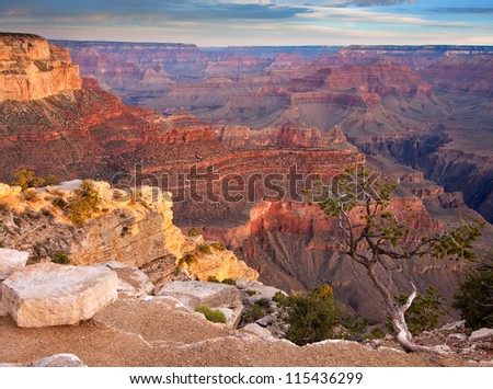 Sunrise over the Grand Canyon National Park - stock photo