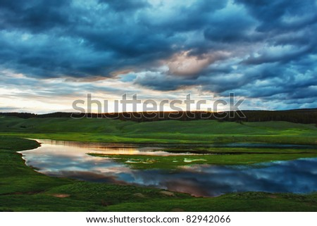 Sunrise over the hayden valley in yellowstone national park, wyoming - stock photo