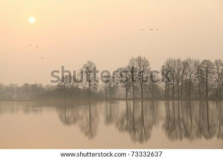 Sunrise over the lake. - stock photo