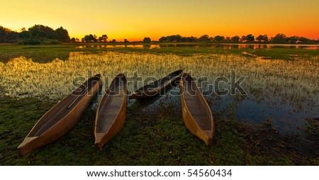 Sunrise over the Okavango Delta, Botswana - stock photo