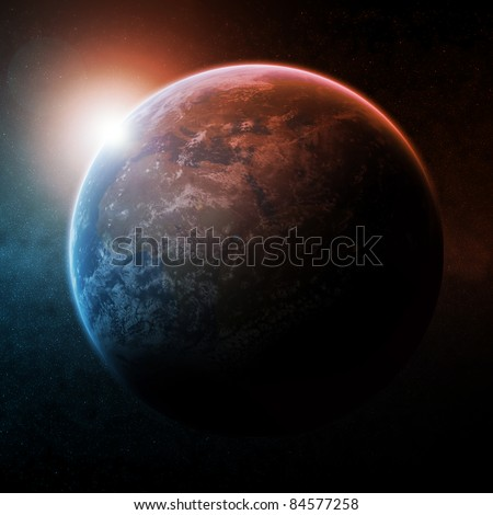 Sunrise over the planet Earth - stock photo