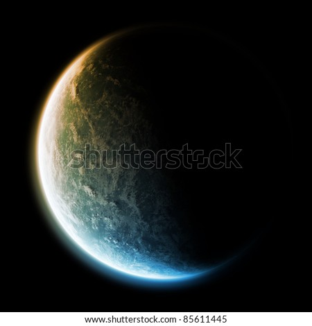 Sunrise over the planet earth in space - stock photo