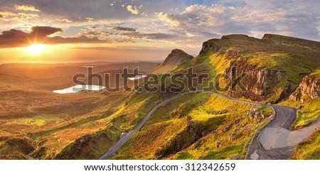 Sunrise over the Quiraing on the Isle of Skye in Scotland. - stock photo