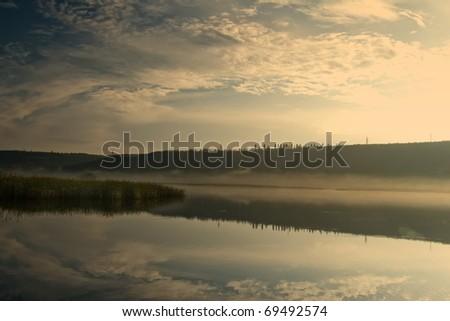 sunrise over the river - stock photo
