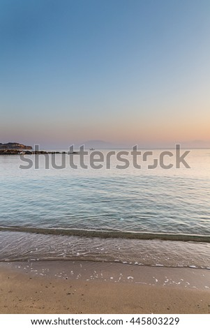 Sunrise over the sea at beach in Zakynthos. - stock photo