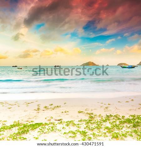 Sunrise over the sea. Con Dao. Vietnam - stock photo