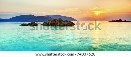 Sunrise over the sea. Con Dao. Vietnam - stock photo