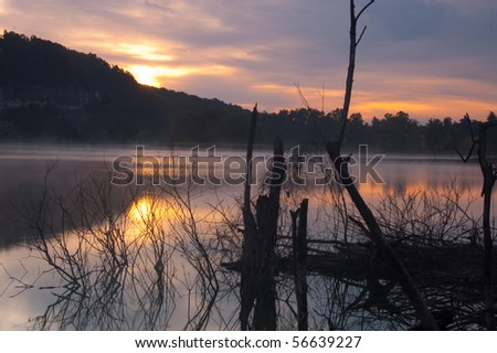 Sunrise over the southern part of Beaver Lake - stock photo
