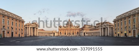 Sunrise over the St. Peters Basilica in Vatican City. Morning at the most famous landmark, empty of people street, cloudy sky. Panoramic view - stock photo