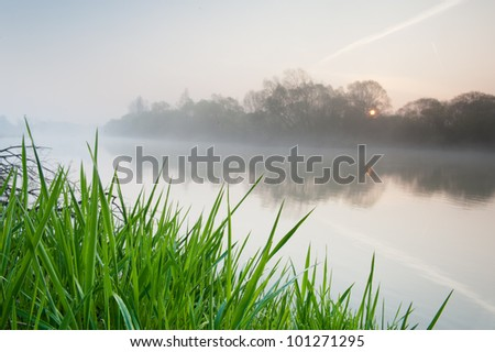 Sunrise over the Vistula river in Poland. Sun rising over the horizon, shining trough the trees and reflecting in the water. - stock photo