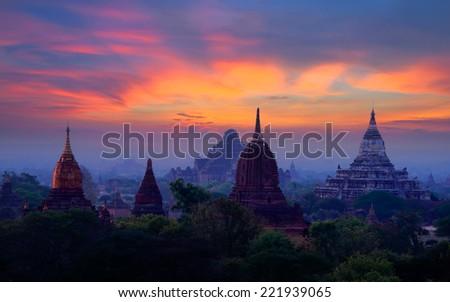 Sunrise Over Thousand Pagoda, Bagan, Myanmar - stock photo
