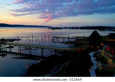 Sunrise over Vancouver Island resort