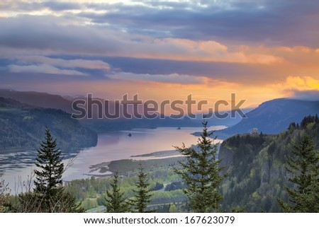 Sunrise Over Vista House on Crown Point at Columbia River Gorge in Oregon with Beacon Rock in Washington State - stock photo