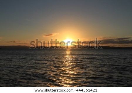Sunrise Over Water and Islands in the Whitsundays Queensland
