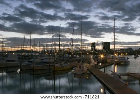 Sunrise over Westhaven - stock photo