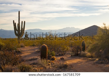 Sunrise reveals the mountains in the distance - stock photo