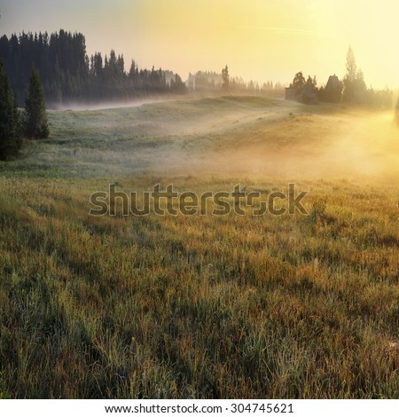 sunrise rural home - stock photo