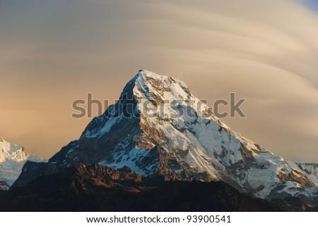 Sunrise scene of Annapurna south from Poon hill, Ghorepani, Nepal - stock photo