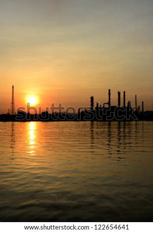 Sunrise scene of Oil refinery, Bangkok, Thailand