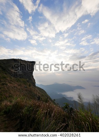 Sunrise scene with the peak of mountain and cloudscape at Phu Chee Fah in Chiangrai Province,Thailand