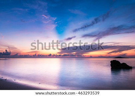 Sunrise, sea, landscape. Okinawa, Japan, Asia.