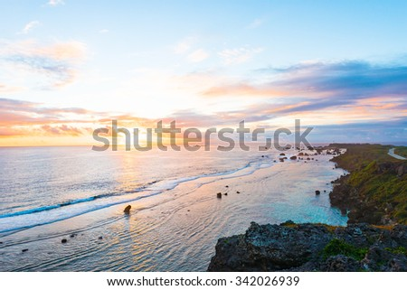 Sunrise, sea, seascape. Okinawa, Japan.