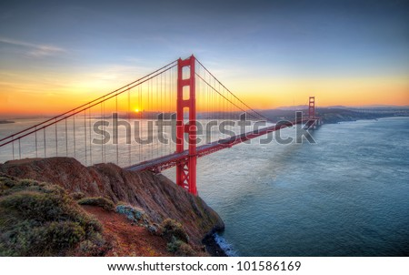 Sunrise seen from Golden Gate Bridge in San francisco - stock photo