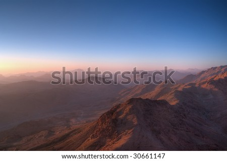 Sunrise seen from the top of a mountain
