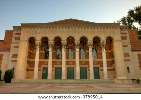 Sunrise shot with high dynamic range photography of the Sacramento Memorial Auditorium - stock photo