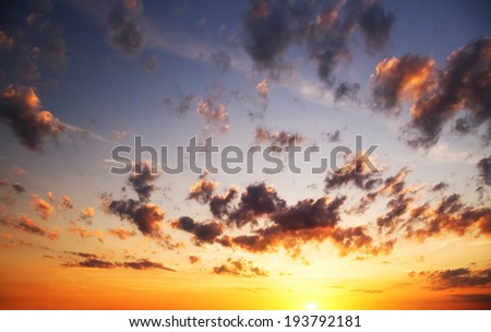 Sunrise sky over the sea. Nature composition. - stock photo