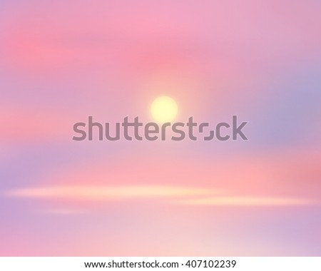 Sunrise sky. Sky clouds and sun background. Sun rays on horizon. Digital painting, illustration. Wallpaper. World environment day. Ecology - stock photo