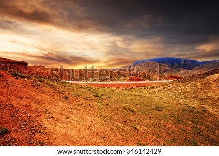 sunrise,sunset skyline and landscape of red sandstone in zhangye