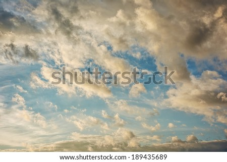 Sunrise / sunset with clouds - stock photo