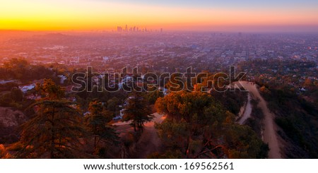 Sunrise view from Griffith Observatory, Los Angeles, California, USA - stock photo