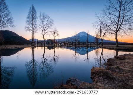 Sunrise view of Fuji mountain in Japan. - stock photo
