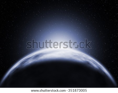sunrise, view of Ice Planet from space - stock photo