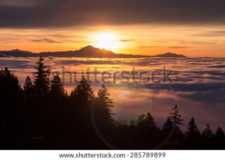 Sunrise, view of Mount Baker from west Vancouver BC Canada