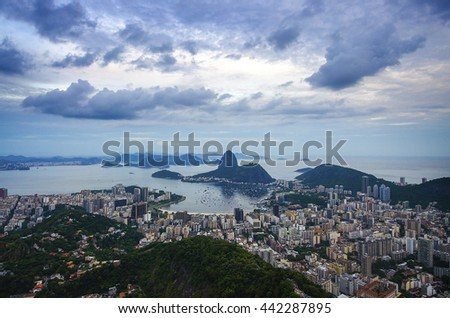 Sunrise view of mountain Sugar Loaf and Botafogo in Rio de Janeiro. Brazil - stock photo