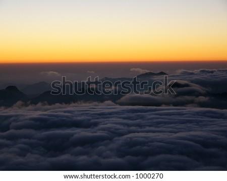 Sunrise w/o sun. Mount Moses. Egypt - stock photo