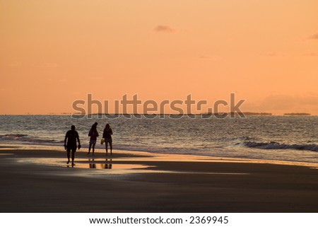 Sunrise Walk - stock photo
