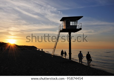 Sunrise walk at Heringsdorf Beach (German Baltic Sea) - stock photo