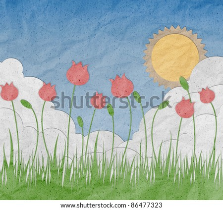 Sunrise with blue sky and cloud made from recycled paper craft - stock photo