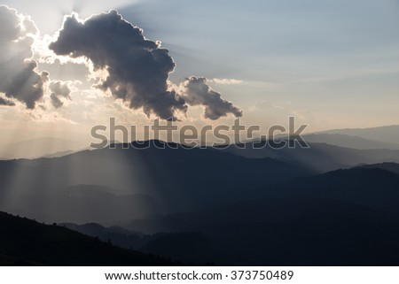 sunrise with clouds, light and rays