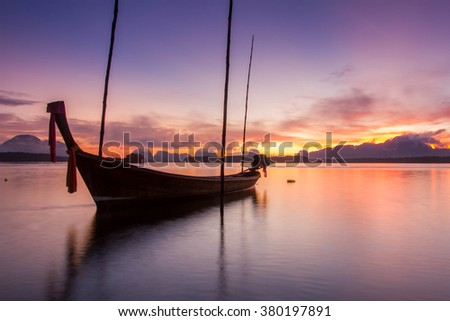 Sunrise with Long tail Boat