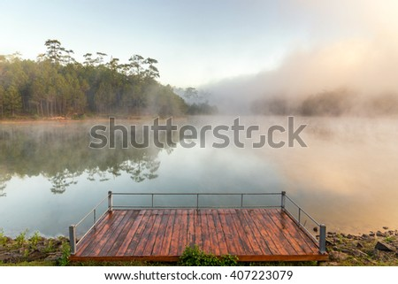 Sunrise with mist over a lake and pine tree - stock photo