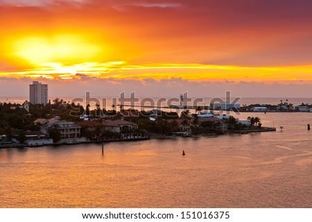 Sunrises in Port Everglades in Ft. Lauderdale, Florida - stock photo
