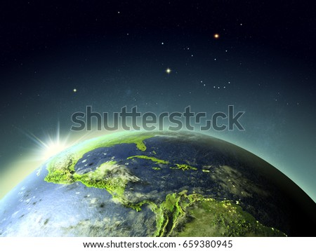 Sunset above Central America. 3D illustration with detailed planet surface. Elements of this image furnished by NASA.