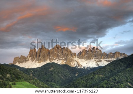 Sunset above Dolomite Mountains, Tryol region of Italy - stock photo