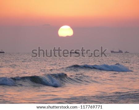 Sunset above mediterranean sea, Turkey - stock photo