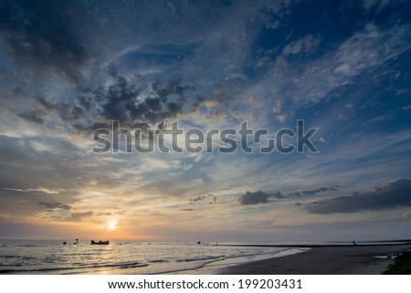 sunset above the dutch sea - stock photo